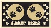 Dog Food Mat Dinner Mate Paws Design Black/Cream