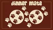 Dog Food Mat Dinner Mate Paws Design Brown