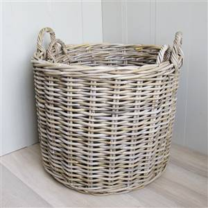 2 Round Rattan Baskets Log Laundry