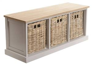 3 Basket Storage Bench Grey