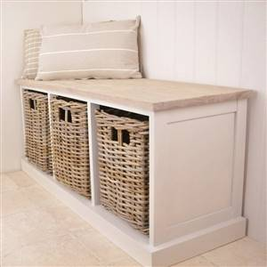3 Basket Storage Unit Bench