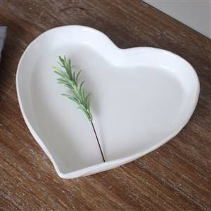 Large White Heart Bowl