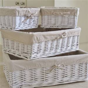 4 White Wicker Storage Baskets