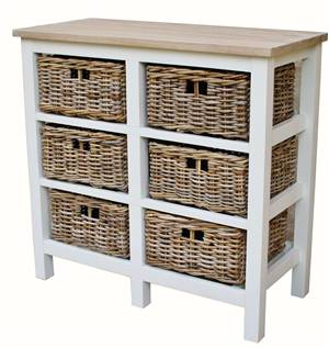 6 Drawer Basket Storage Unit