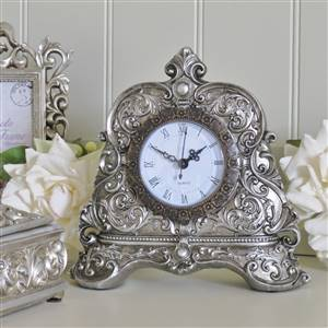 Antiqued Silver Mantel Clock