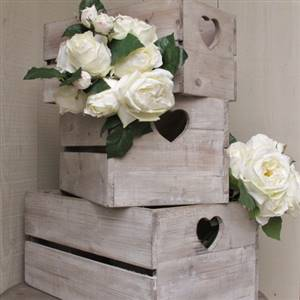 Wooden Heart Crate Storage Box Large