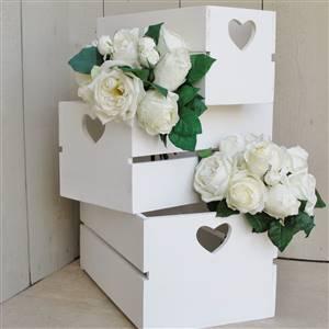 Wooden Heart Crate Storage Box Medium