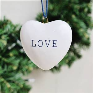 White Cceramic LOVE Heart