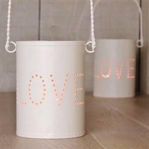 Cream LOVE hurricane lantern