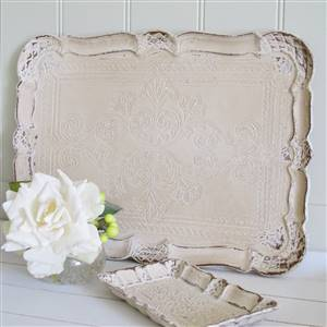 Cream Carved Wooden Tray