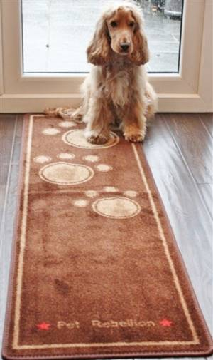 Dog Runner Mat Paws Brown