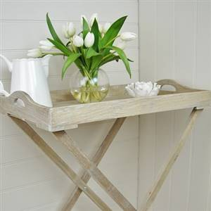 Natural Wooden Tray On Stand