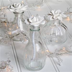 Flower Top Glass Bottles x 3