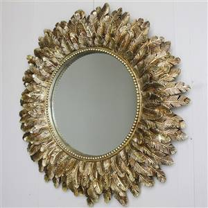 Gold Feather Round Wall Mirror