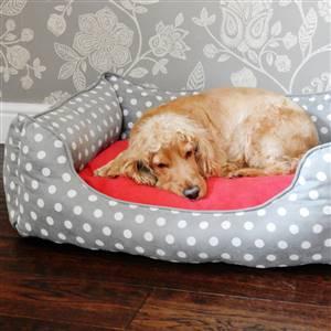 Grey Polka Dot Dog Bed
