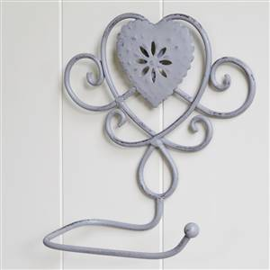 Grey Heart Toilet Roll Holder