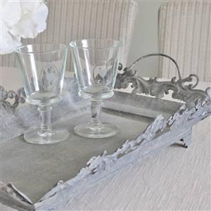 Grey Metal Ornate Tray