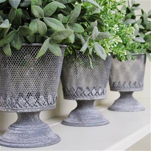 Grey Metal Planter French Style