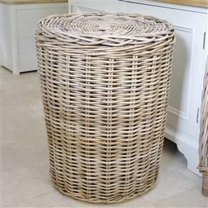 Grey Rattan Laundry Linen Bin