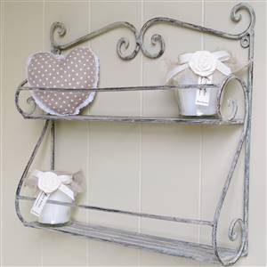 Grey Scrolled Double Wall Shelf