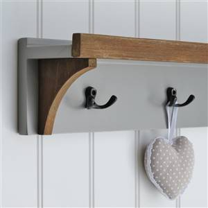 Grey Wall Shelf 3 Coat Hooks