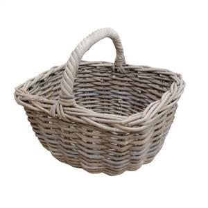 Grey Buff Rattan Shopping Basket