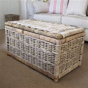 Grey Wash Rattan Storage Chest