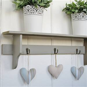 Grey Wall Shelf Hooks