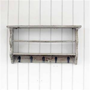 Grey Washed Shelf Hooks Rack