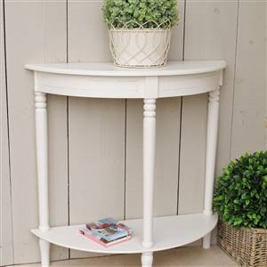 Ivory Half Moon Console Table