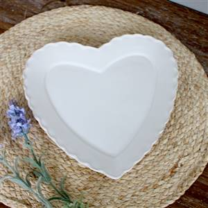 Large white heart plate