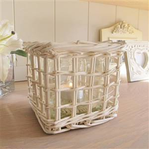 Cream Willow Candle Holder