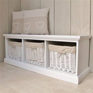 White 3 Basket Storage Bench