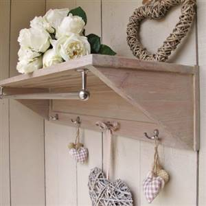 Wooden shelf with rail and hooks