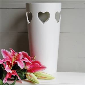 Large Cream Heart Vase