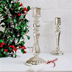 Mercurised Glass Candlestick