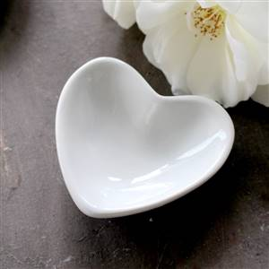3 White Mini Heart Dish Plate