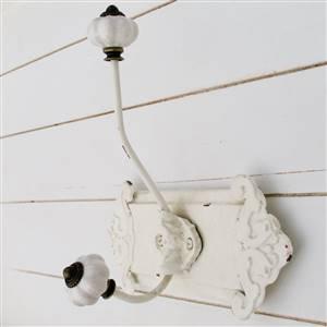 Ornate Single White Wall Hook