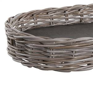 Grey Rattan Oval Tray