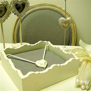 Wooden heart napkin holder
