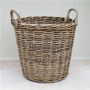 Large Rattan Log Laundry Basket