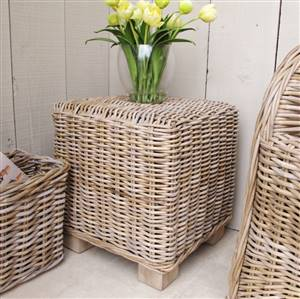 Natural rattan stool/side table