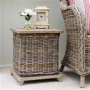 Rattan Storage Table Laundry Bin
