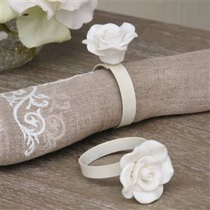 Set of 4 Rose Napkin Rings