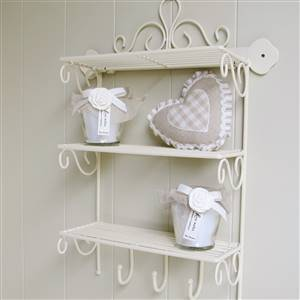 Cream Metal Triple Wall Shelf