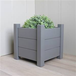 Set of 2 Grey Square Planters 30cm