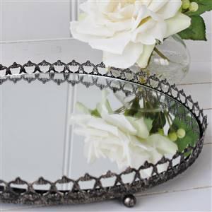 Round Silver Mirror Tray