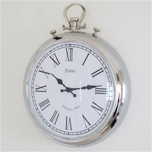 Silver Round Fob Wall Clock
