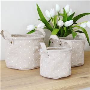 3 linen polka dot storage bins