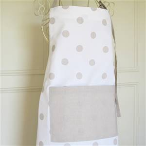 White with linen polka dot apron